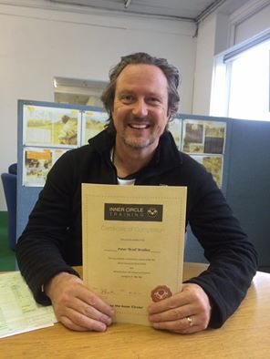 """Brad looking decidedly pleased with himself, as so he might having obtained a """"double first"""" by passing both motorcycle tests first time!"""