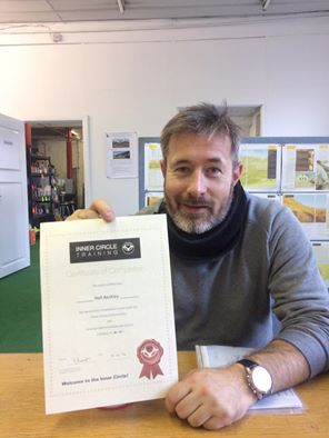 Neil with his DAS course completion certificate after passing both his motorcycle tests first time