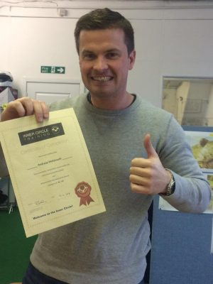 Andreas with his certificate before heading to the airport to catch his flight to Hong Kong!