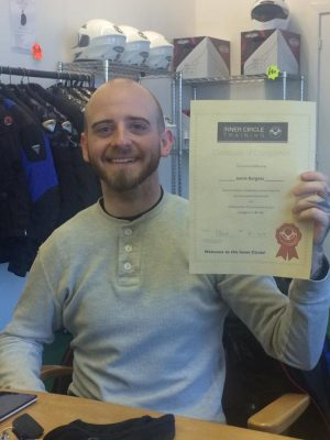 A very happy Jamie after passing both his motorcycle tests first time!